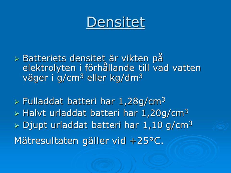Densitet  Batteriets densitet är vikten på elektrolyten i förhållande till vad vatten väger i g/cm 3 eller kg/dm 3  Fulladdat batteri har 1,28g/cm 3
