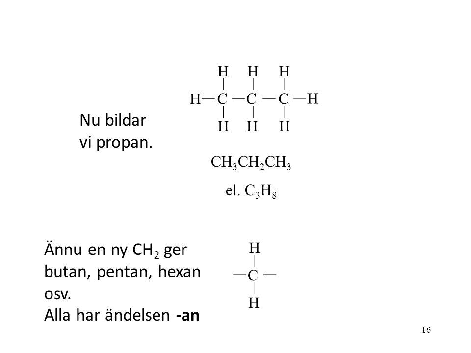 16 C H H C H H C H H H H C H H Nu bildar vi propan. CH 3 CH 2 CH 3 el. C 3 H 8 Ännu en ny CH 2 ger butan, pentan, hexan osv. Alla har ändelsen -an