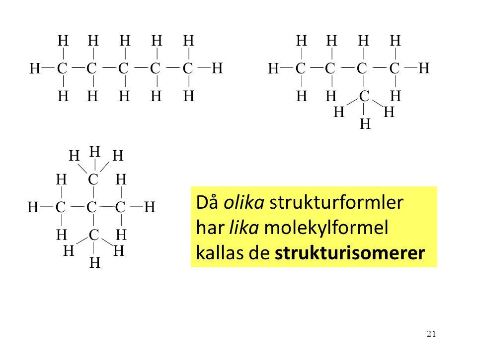 21 C H H C H H H H C H H C H H C H H C H H H C H C H H C H HH H C H H C H C H H C H H H C H HH C H HH Då olika strukturformler har lika molekylformel kallas de strukturisomerer