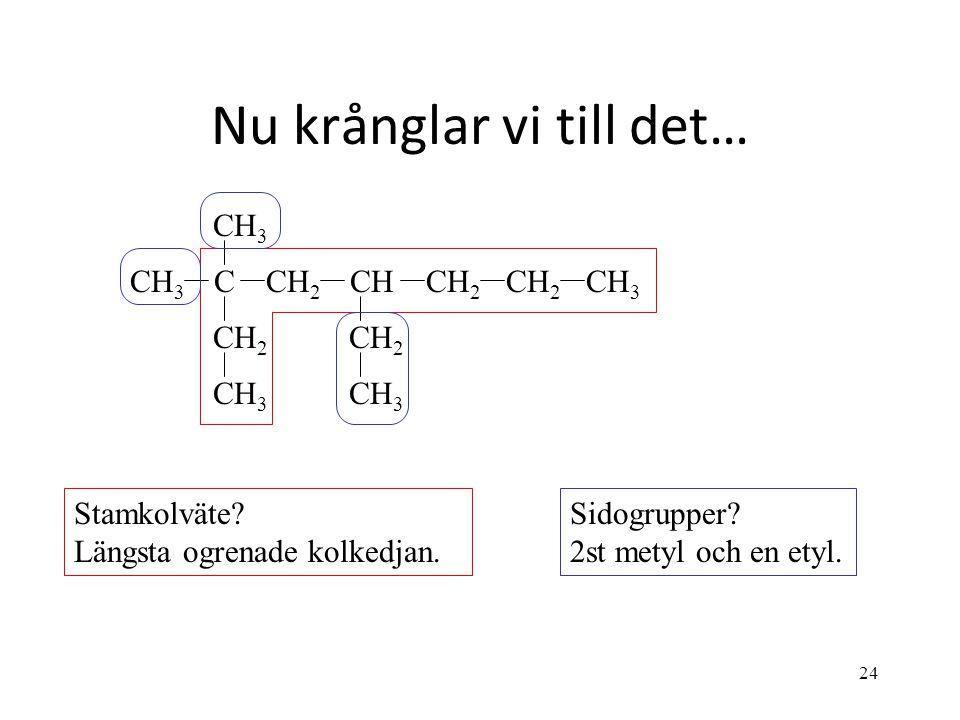 24 Nu krånglar vi till det… CH 2 CH 3 CHCH 2 CH 3 C CH 2 CH 3 Stamkolväte? Längsta ogrenade kolkedjan. Sidogrupper? 2st metyl och en etyl.