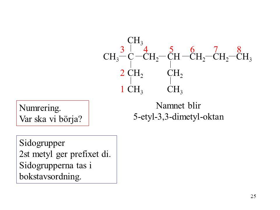 25 Numrering. Var ska vi börja? Sidogrupper 2st metyl ger prefixet di. Sidogrupperna tas i bokstavsordning. CH 2 CH 3 CHCH 2 CH 3 C CH 2 CH 3 876 Namn