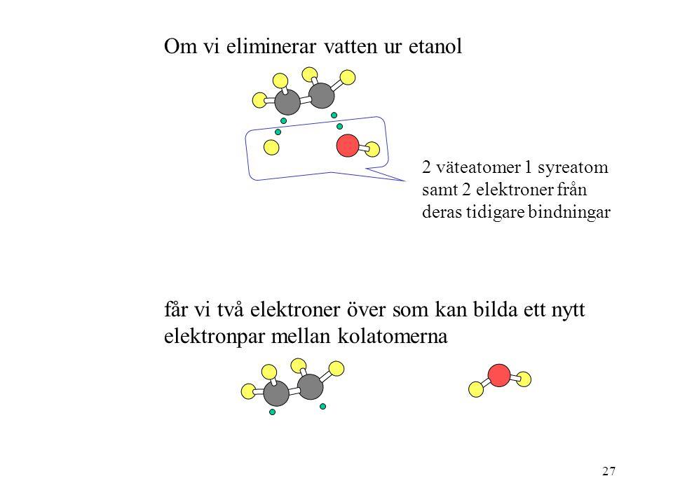 27 Om vi eliminerar vatten ur etanol 2 väteatomer 1 syreatom samt 2 elektroner från deras tidigare bindningar får vi två elektroner över som kan bilda