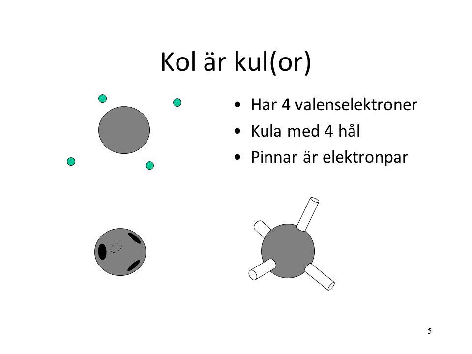 5 Kol är kul(or) Har 4 valenselektroner Kula med 4 hål Pinnar är elektronpar