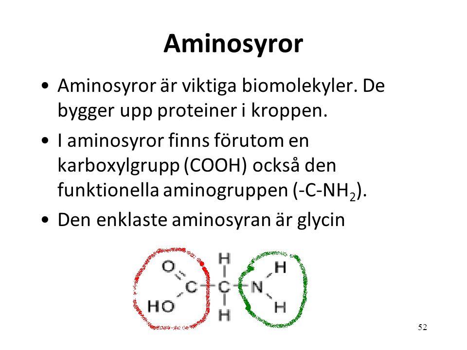 52 Aminosyror Aminosyror är viktiga biomolekyler. De bygger upp proteiner i kroppen. I aminosyror finns förutom en karboxylgrupp (COOH) också den funk