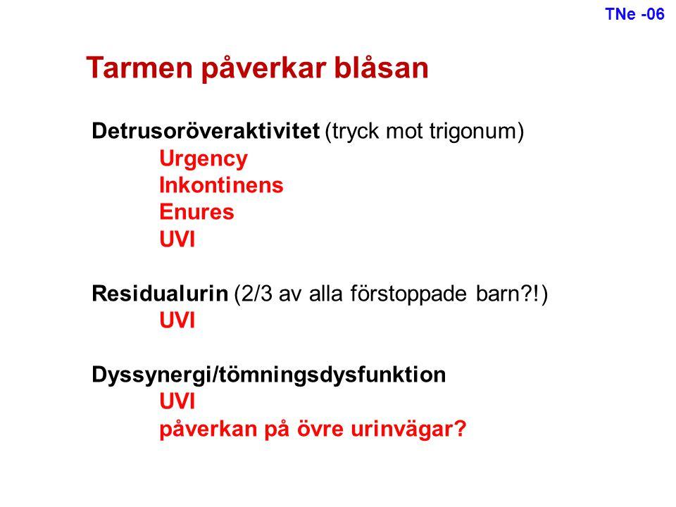 Tarmen påverkar blåsan Detrusoröveraktivitet (tryck mot trigonum) Urgency Inkontinens Enures UVI Residualurin (2/3 av alla förstoppade barn?!) UVI Dys
