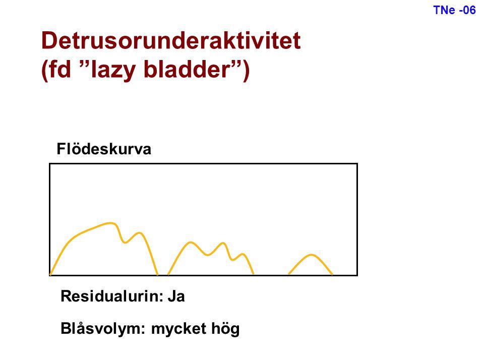 """Flödeskurva Residualurin: Ja Blåsvolym: mycket hög Detrusorunderaktivitet (fd """"lazy bladder"""") TNe -06"""