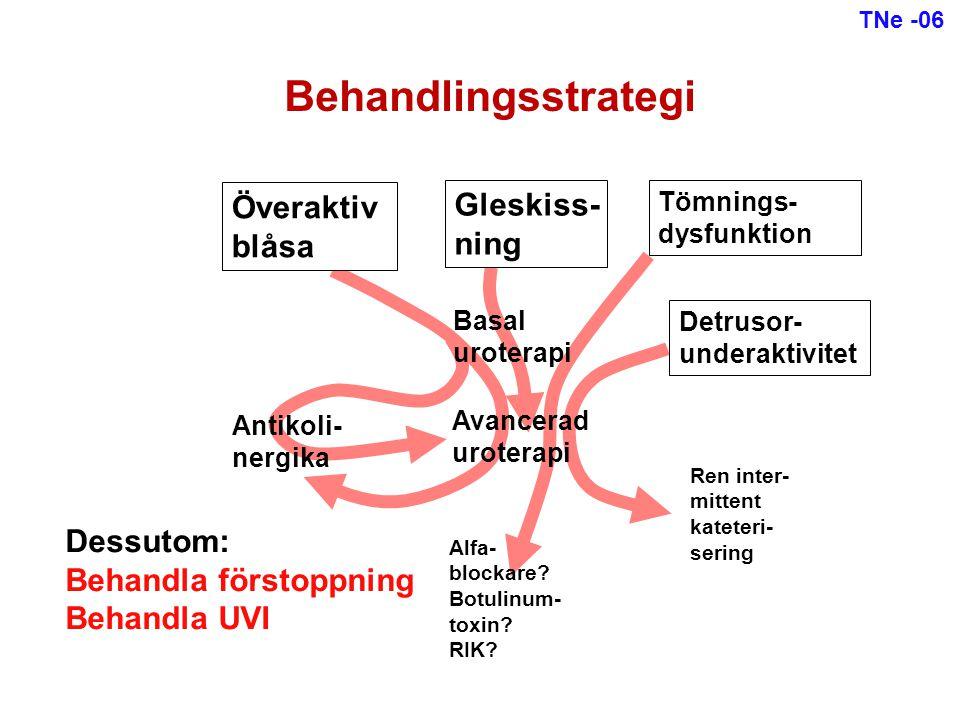 Behandlingsstrategi Överaktiv blåsa Gleskiss- ning Tömnings- dysfunktion Basal uroterapi Antikoli- nergika Avancerad uroterapi Alfa- blockare? Botulin