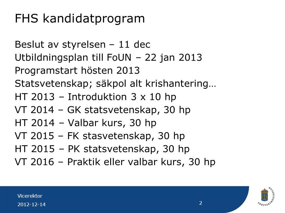 Vicerektor 2012-12-14 2 FHS kandidatprogram Beslut av styrelsen – 11 dec Utbildningsplan till FoUN – 22 jan 2013 Programstart hösten 2013 Statsvetensk