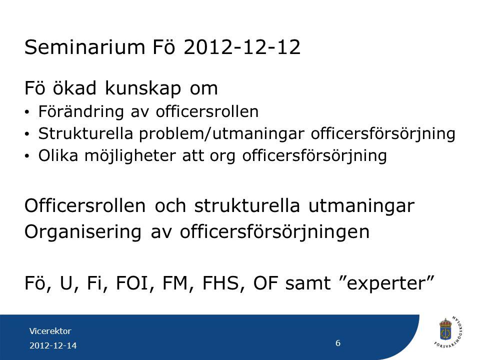 Vicerektor 2012-12-14 6 Seminarium Fö 2012-12-12 Fö ökad kunskap om Förändring av officersrollen Strukturella problem/utmaningar officersförsörjning O