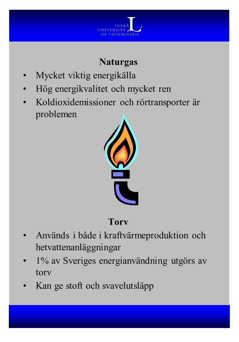 Naturgas Mycket viktig energikälla Hög energikvalitet och mycket ren Koldioxidemissioner och rörtransporter är problemen Torv Används i både i kraftvärmeproduktion och hetvattenanläggningar 1% av Sveriges energianvändning utgörs av torv Kan ge stoft och svavelutsläpp