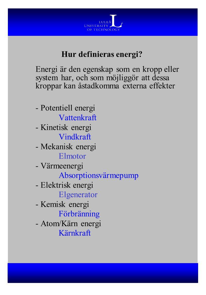 Hur definieras energi? Energi är den egenskap som en kropp eller system har, och som möjliggör att dessa kroppar kan åstadkomma externa effekter - Pot