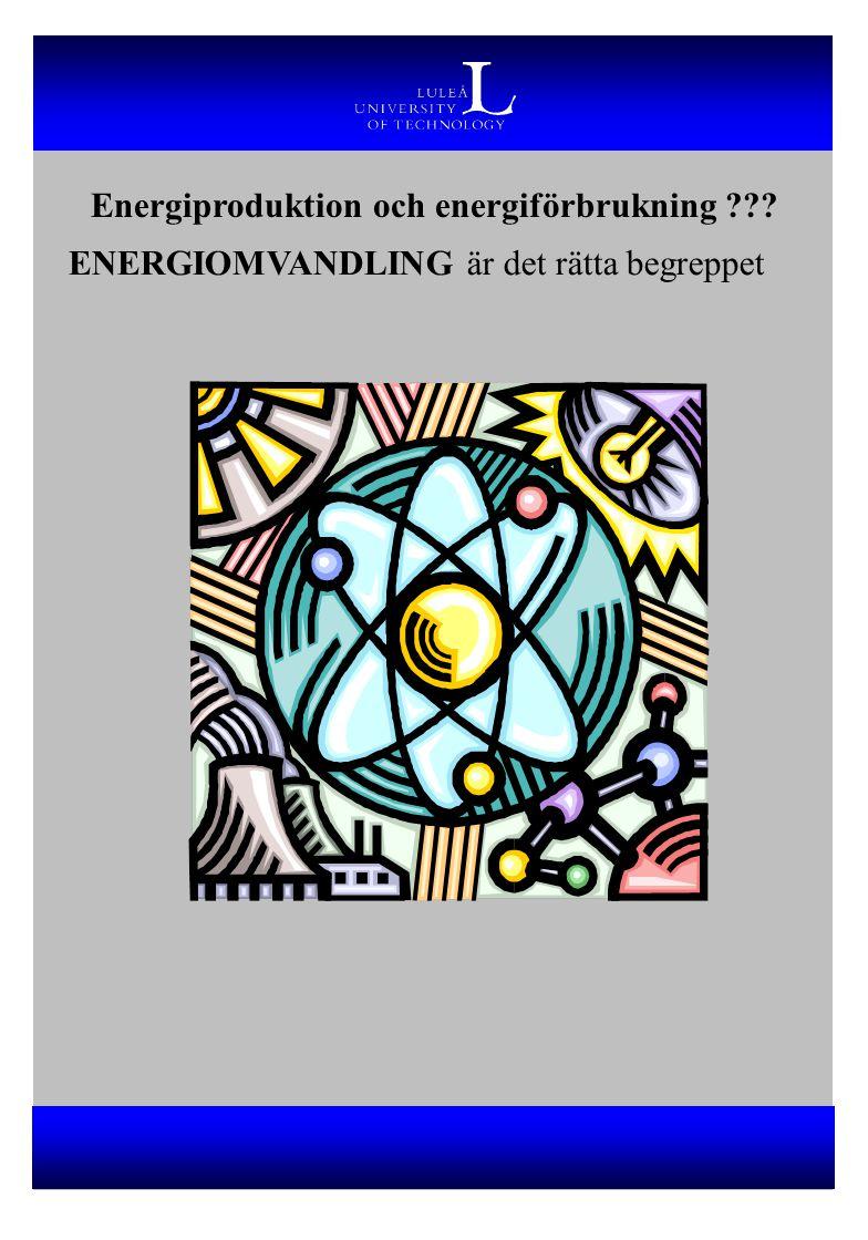 Energiproduktion och energiförbrukning ??? ENERGIOMVANDLING är det rätta begreppet