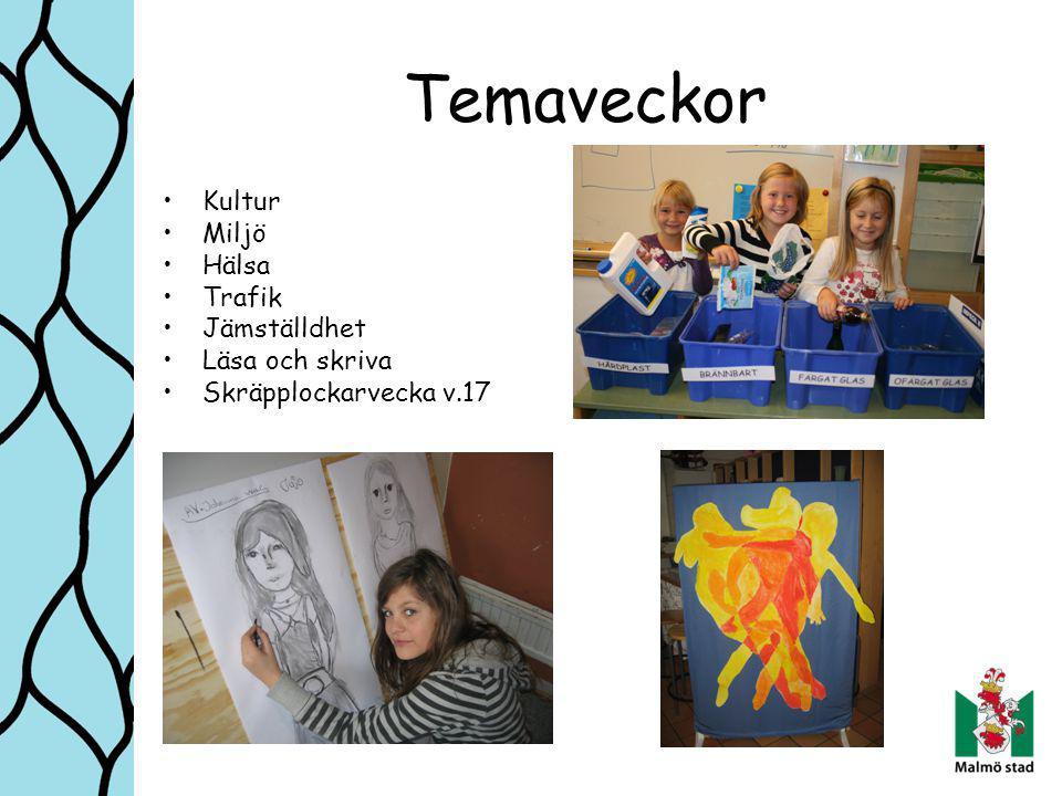 Temaveckor Kultur Miljö Hälsa Trafik Jämställdhet Läsa och skriva Skräpplockarvecka v.17