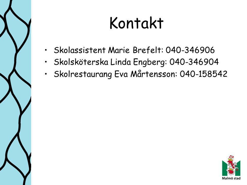 Kontakt Skolassistent Marie Brefelt: 040-346906 Skolsköterska Linda Engberg: 040-346904 Skolrestaurang Eva Mårtensson: 040-158542