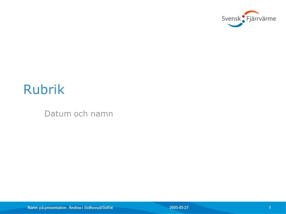 2005-05-27Namn på presentation. Ändras i Sidhuvud/Sidfot 32 Branschorganisationen Svensk Fjärrvärme