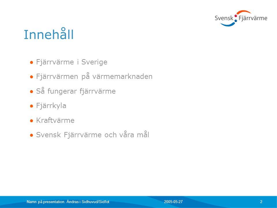 2005-05-27Namn på presentation. Ändras i Sidhuvud/Sidfot 2 Innehåll ● Fjärrvärme i Sverige ● Fjärrvärmen på värmemarknaden ● Så fungerar fjärrvärme ●