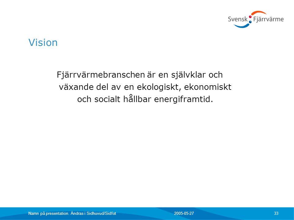 2005-05-27 Namn på presentation. Ändras i Sidhuvud/Sidfot 33 Vision Fjärrvärmebranschen är en självklar och växande del av en ekologiskt, ekonomiskt o