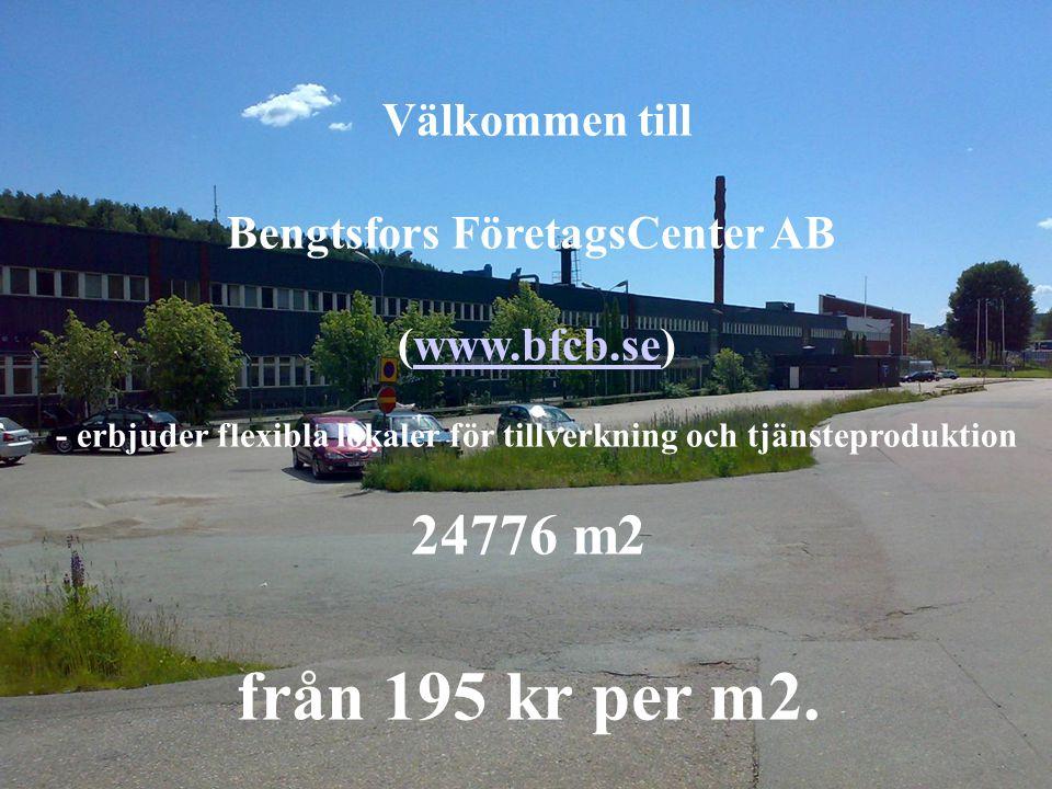 Välkommen till Bengtsfors FöretagsCenter AB (www.bfcb.se)www.bfcb.se - erbjuder flexibla lokaler för tillverkning och tjänsteproduktion 24776 m2 från 195 kr per m2.