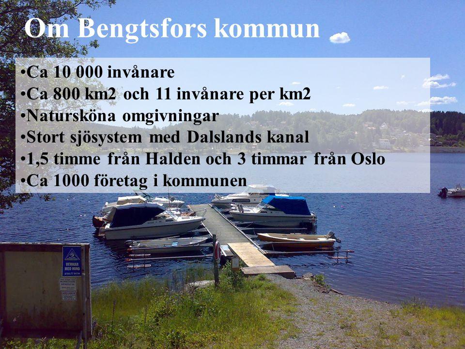 Ca 10 000 invånare Ca 800 km2 och 11 invånare per km2 Natursköna omgivningar Stort sjösystem med Dalslands kanal 1,5 timme från Halden och 3 timmar från Oslo Ca 1000 företag i kommunen Om Bengtsfors kommun