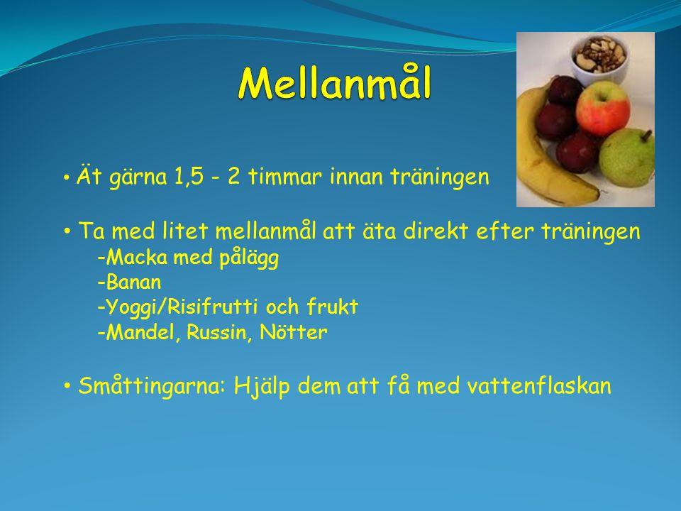 Ät gärna 1,5 - 2 timmar innan träningen Ta med litet mellanmål att äta direkt efter träningen -Macka med pålägg -Banan -Yoggi/Risifrutti och frukt -Ma