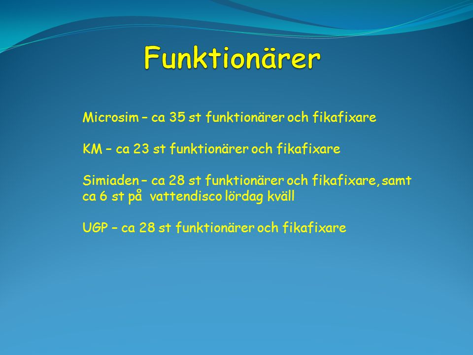 Microsim – ca 35 st funktionärer och fikafixare KM – ca 23 st funktionärer och fikafixare Simiaden – ca 28 st funktionärer och fikafixare, samt ca 6 s