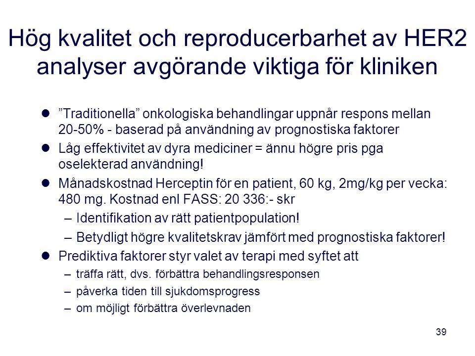 """39 Hög kvalitet och reproducerbarhet av HER2 analyser avgörande viktiga för kliniken """"Traditionella"""" onkologiska behandlingar uppnår respons mellan 20"""