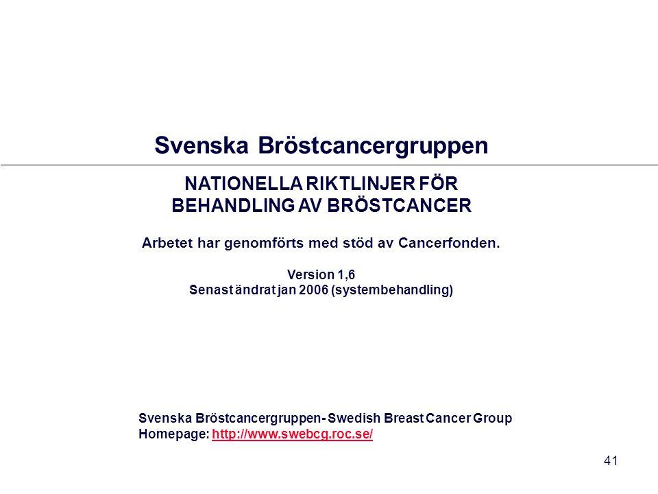 41 Svenska Bröstcancergruppen- Swedish Breast Cancer Group Homepage: http://www.swebcg.roc.se/http://www.swebcg.roc.se/ Svenska Bröstcancergruppen NAT