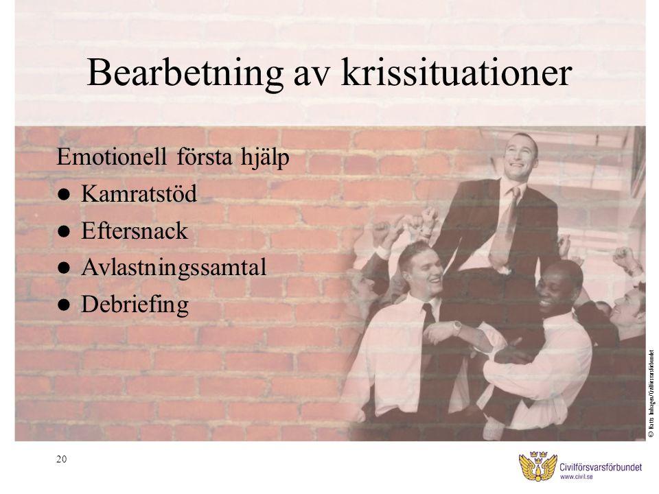 20 Bearbetning av krissituationer Emotionell första hjälp Kamratstöd Eftersnack Avlastningssamtal Debriefing © Matts Imhagen/Civilförsvarsförbundet