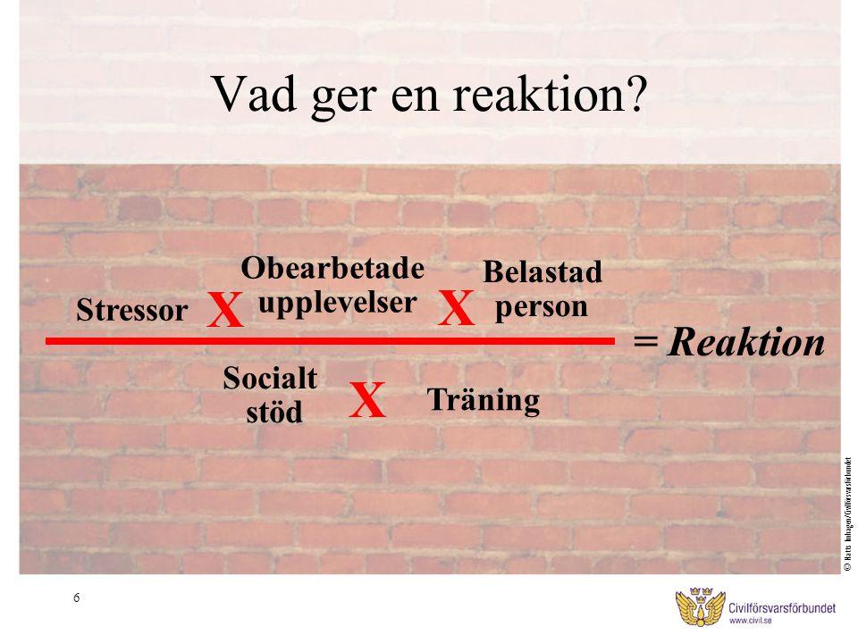 6 Vad ger en reaktion? Stressor = Reaktion Obearbetade upplevelser Belastad person X X Socialt stöd Träning X © Matts Imhagen/Civilförsvarsförbundet