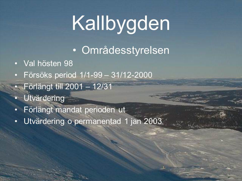 Kallbygden Områdesstyrelsen Val hösten 98 Försöks period 1/1-99 – 31/12-2000 Förlängt till 2001 – 12/31 Utvärdering Förlängt mandat perioden ut Utvärdering o permanentad 1 jan 2003