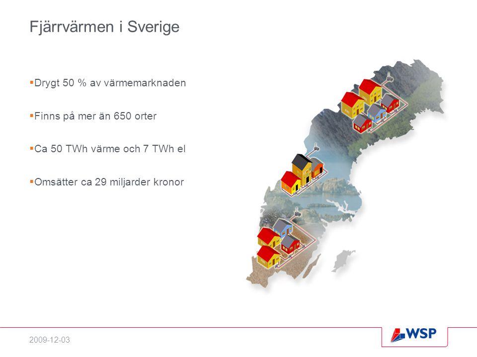2009-12-03 Fjärrvärmen i Sverige  Drygt 50 % av värmemarknaden  Finns på mer än 650 orter  Ca 50 TWh värme och 7 TWh el  Omsätter ca 29 miljarder