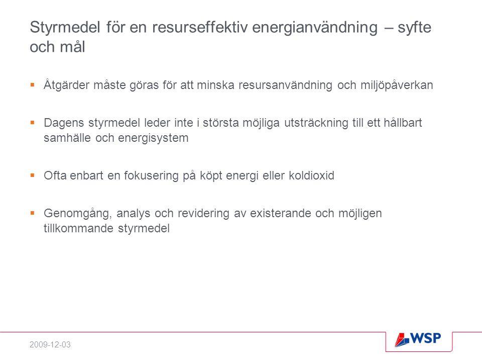 2009-12-03 Styrmedel för en resurseffektiv energianvändning – syfte och mål  Åtgärder måste göras för att minska resursanvändning och miljöpåverkan 