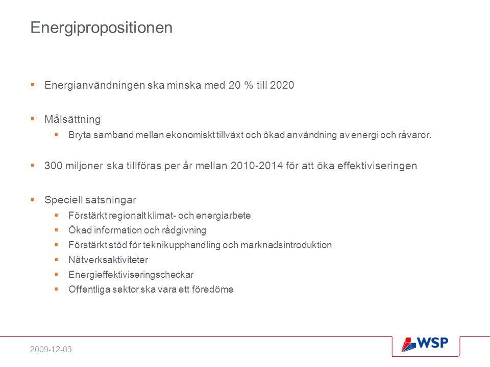 2009-12-03 Energipropositionen  Energianvändningen ska minska med 20 % till 2020  Målsättning  Bryta samband mellan ekonomiskt tillväxt och ökad användning av energi och råvaror.
