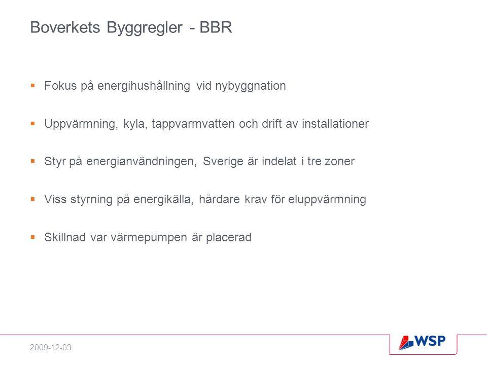 2009-12-03 Boverkets Byggregler - BBR  Fokus på energihushållning vid nybyggnation  Uppvärmning, kyla, tappvarmvatten och drift av installationer  Styr på energianvändningen, Sverige är indelat i tre zoner  Viss styrning på energikälla, hårdare krav för eluppvärmning  Skillnad var värmepumpen är placerad