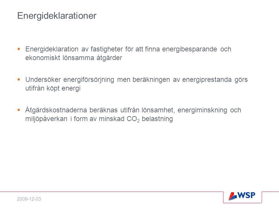 2009-12-03 Energideklarationer  Energideklaration av fastigheter för att finna energibesparande och ekonomiskt lönsamma åtgärder  Undersöker energiförsörjning men beräkningen av energiprestanda görs utifrån köpt energi  Åtgärdskostnaderna beräknas utifrån lönsamhet, energiminskning och miljöpåverkan i form av minskad CO 2 belastning