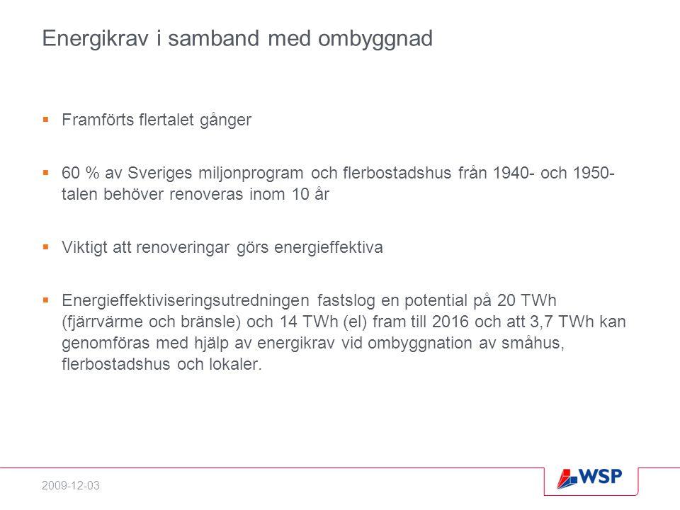 2009-12-03 Energikrav i samband med ombyggnad  Framförts flertalet gånger  60 % av Sveriges miljonprogram och flerbostadshus från 1940- och 1950- talen behöver renoveras inom 10 år  Viktigt att renoveringar görs energieffektiva  Energieffektiviseringsutredningen fastslog en potential på 20 TWh (fjärrvärme och bränsle) och 14 TWh (el) fram till 2016 och att 3,7 TWh kan genomföras med hjälp av energikrav vid ombyggnation av småhus, flerbostadshus och lokaler.