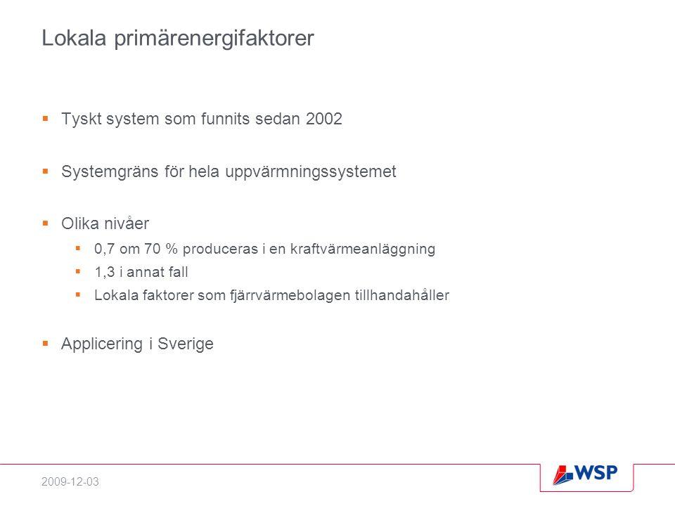 2009-12-03 Lokala primärenergifaktorer  Tyskt system som funnits sedan 2002  Systemgräns för hela uppvärmningssystemet  Olika nivåer  0,7 om 70 % produceras i en kraftvärmeanläggning  1,3 i annat fall  Lokala faktorer som fjärrvärmebolagen tillhandahåller  Applicering i Sverige
