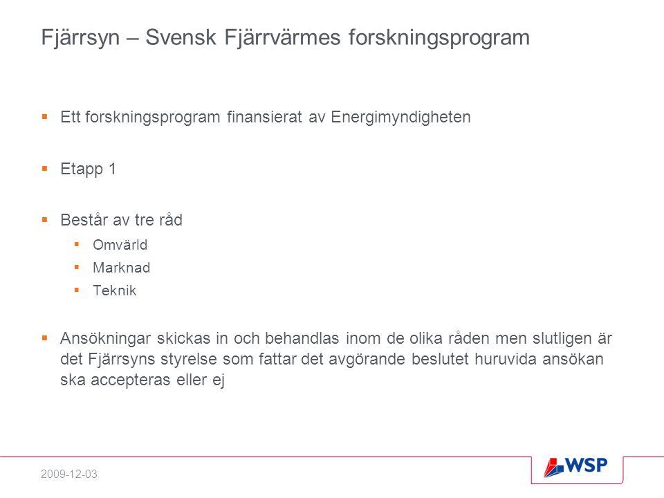 2009-12-03 Fjärrsyn – Svensk Fjärrvärmes forskningsprogram  Ett forskningsprogram finansierat av Energimyndigheten  Etapp 1  Består av tre råd  Om