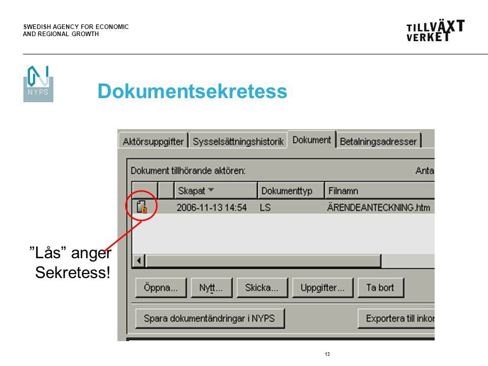 "SWEDISH AGENCY FOR ECONOMIC AND REGIONAL GROWTH 13 ""Lås"" anger Sekretess! Dokumentsekretess"