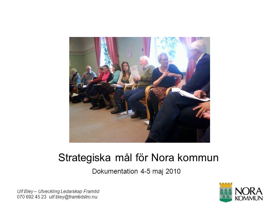 Ulf Bley – Utveckling Ledarskap Framtid 070 692 45 23 ulf.bley@framtidstro.nu Strategiska mål för Nora kommun Dokumentation 4-5 maj 2010