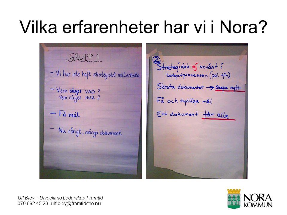 Ulf Bley – Utveckling Ledarskap Framtid 070 692 45 23 ulf.bley@framtidstro.nu Vilka erfarenheter har vi i Nora