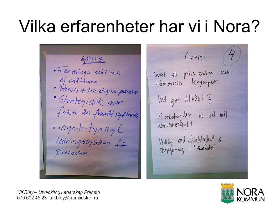 Ulf Bley – Utveckling Ledarskap Framtid 070 692 45 23 ulf.bley@framtidstro.nu Vilka erfarenheter har vi i Nora?