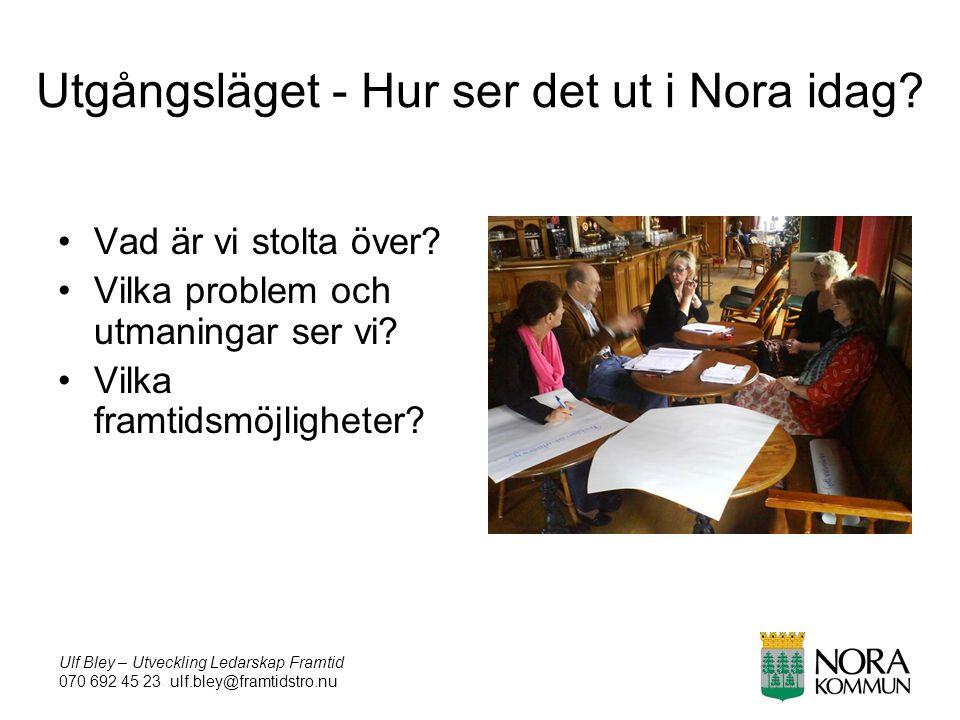 Ulf Bley – Utveckling Ledarskap Framtid 070 692 45 23 ulf.bley@framtidstro.nu Utgångsläget - Hur ser det ut i Nora idag.