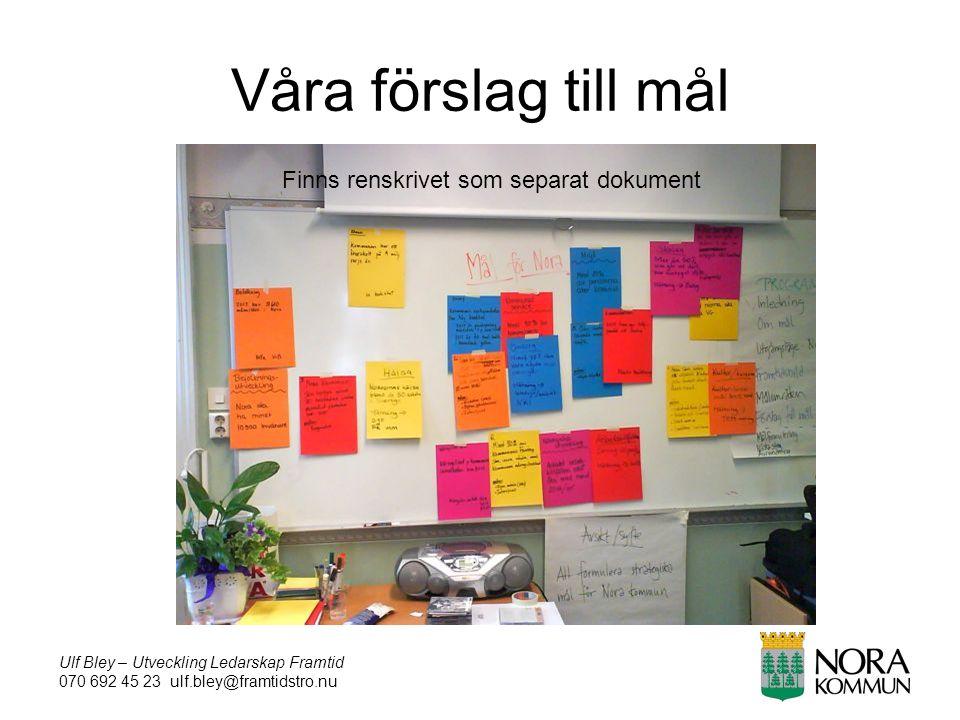 Ulf Bley – Utveckling Ledarskap Framtid 070 692 45 23 ulf.bley@framtidstro.nu Våra förslag till mål Finns renskrivet som separat dokument