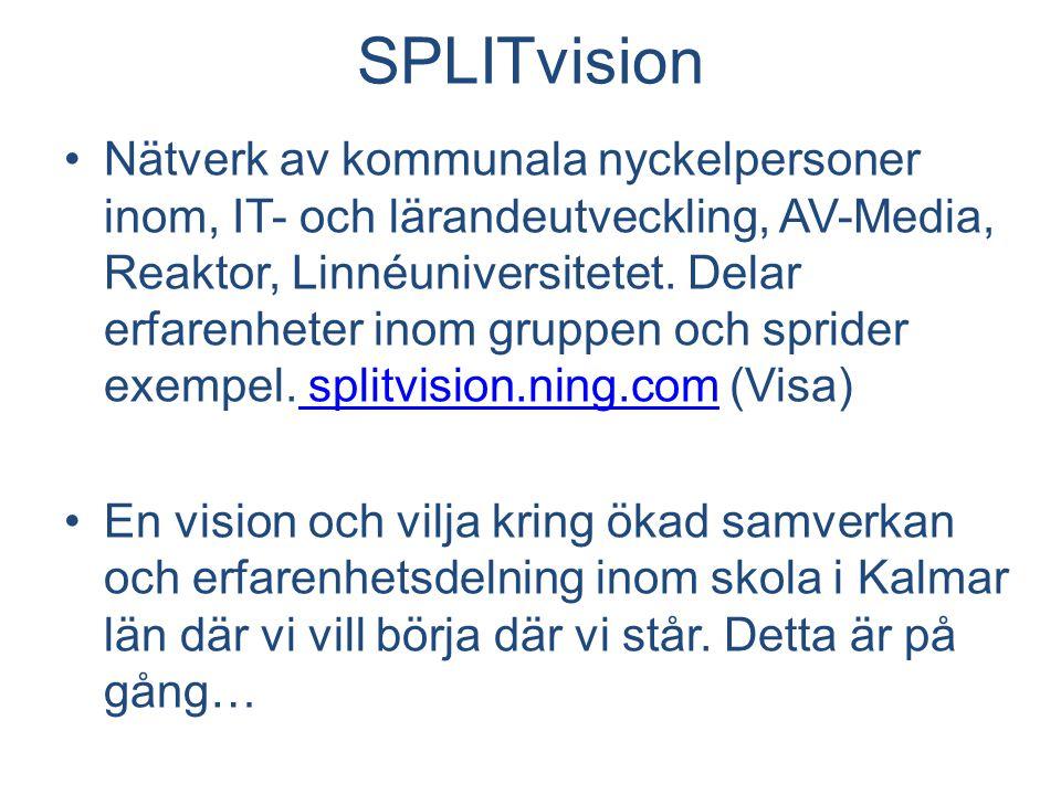 SPLITvision Nätverk av kommunala nyckelpersoner inom, IT- och lärandeutveckling, AV-Media, Reaktor, Linnéuniversitetet.