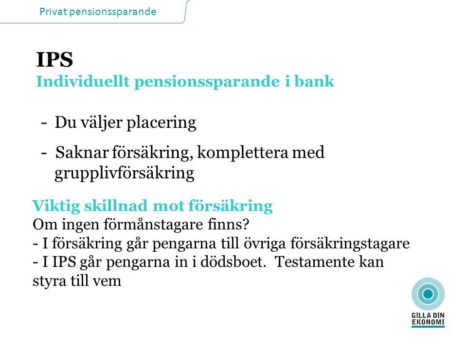 Privat pensionssparande IPS Individuellt pensionssparande i bank Viktig skillnad mot försäkring Om ingen förmånstagare finns.