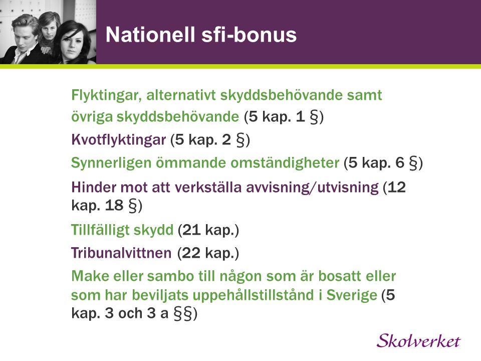 Nationell sfi-bonus Flyktingar, alternativt skyddsbehövande samt övriga skyddsbehövande (5 kap.