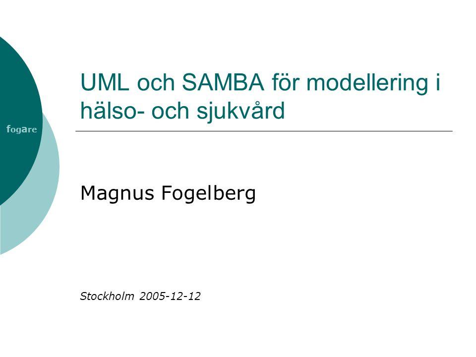 f og a re SAMBA  SAMverkan, Begrepp och Arkitektur  ITHS 2-projekt  Processmodell för vård av enskild patient  Modellen beskrivs ur ett producentperspektiv  Modellens avsikt är att utgöra en generell bild över hälso- och sjukvård i Sverige  Processmodellen är ett verktyg som bl a kan användas vid verksamhetsutveckling
