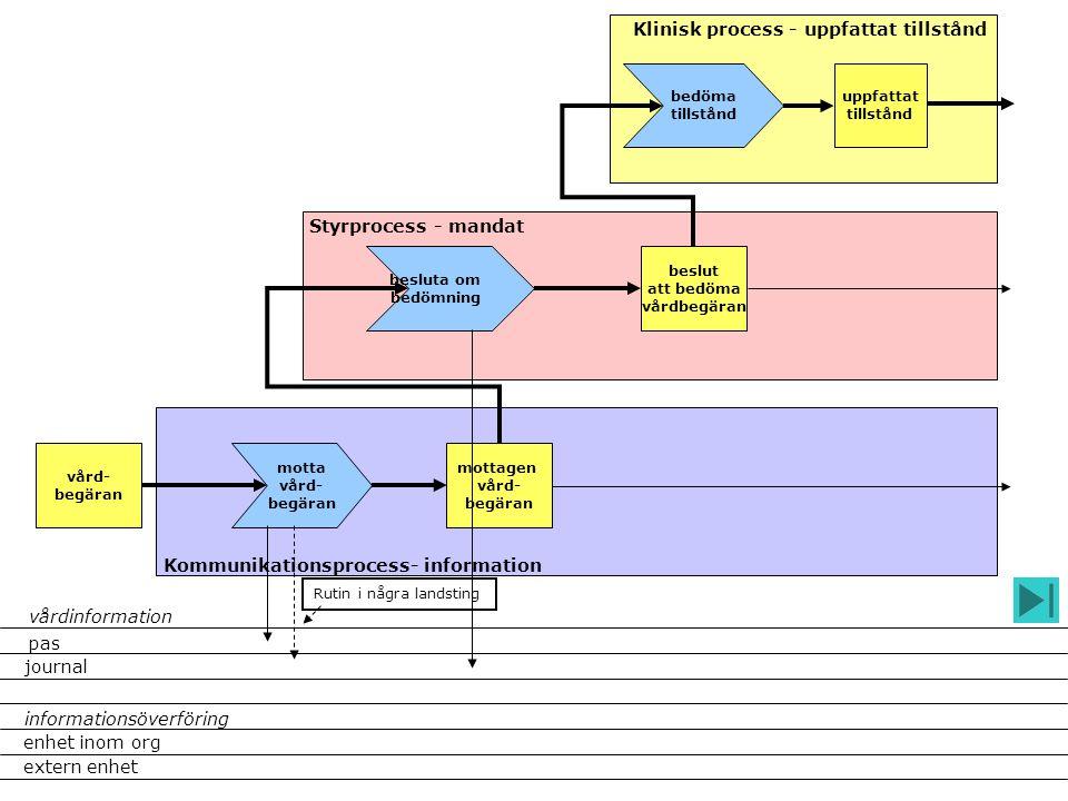 Styrprocess - mandat Klinisk process - uppfattat tillstånd Kommunikationsprocess- information vård- begäran motta vård- begäran mottagen vård- begäran