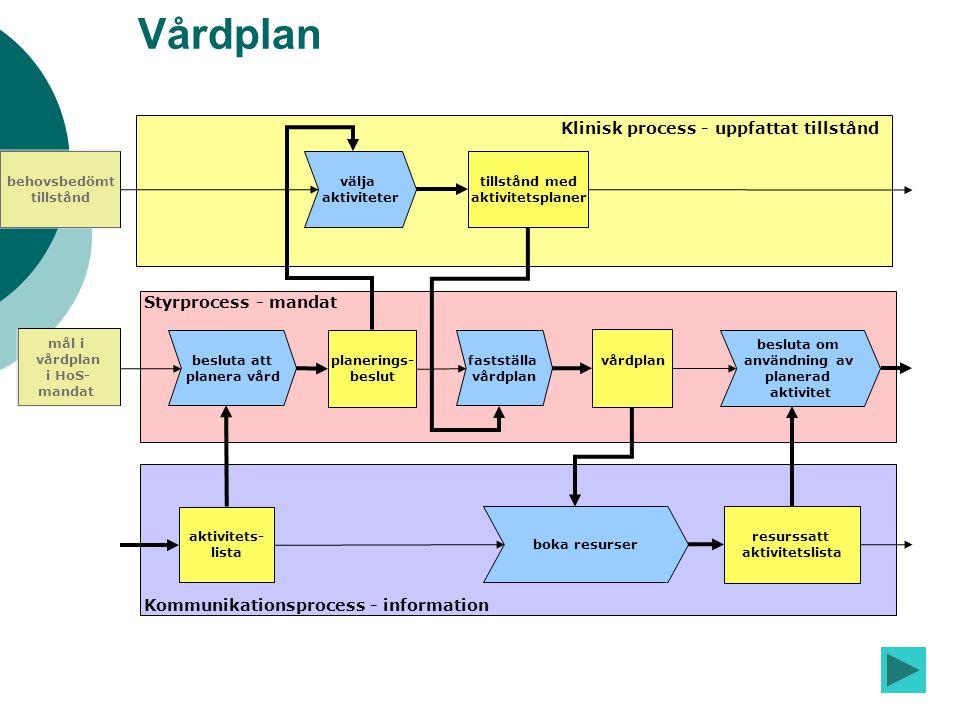 f og a re Vårdplan välja aktiviteter besluta att planera vård planerings- beslut Klinisk process - uppfattat tillstånd Styrprocess - mandat Kommunikat